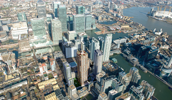 Canary Wharf aerial view.