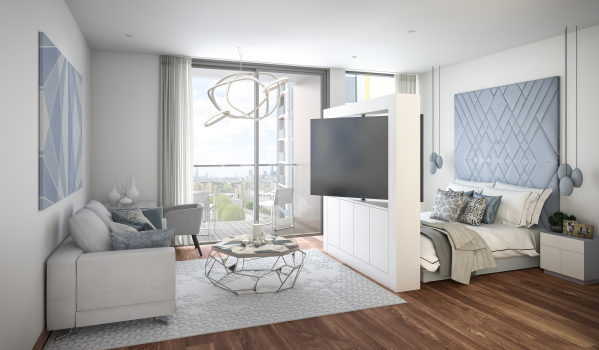 Spacious bedroom in Maine Tower.
