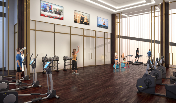 Gym facility at Maine Tower.