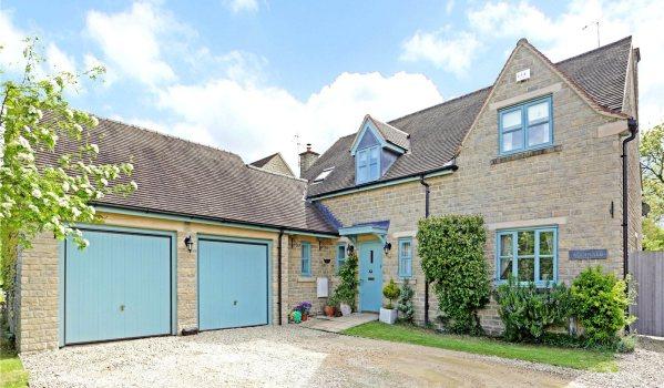 Stone house blue windows