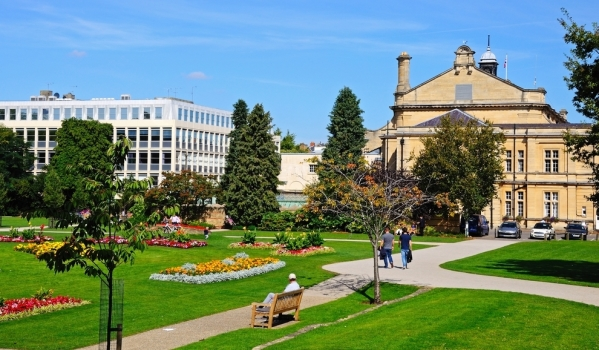 Flower beds and the town hall in Cheltenham.