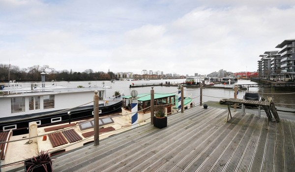 Houseboats at Lightermans Walk in London.