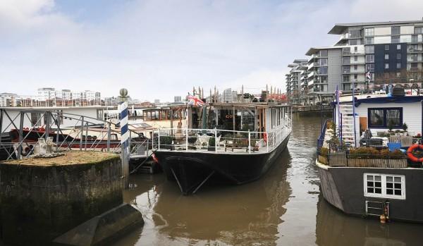 Houseboats at Lightermans Walk in Wandsworth, London.