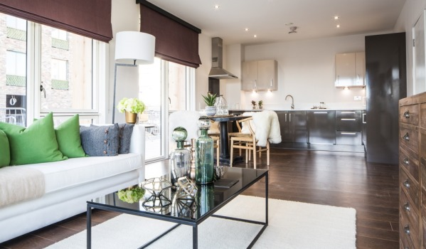 Open plan living at Royal Albert Wharf.