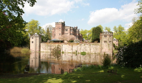 A 13th century castle surrounded by a moat