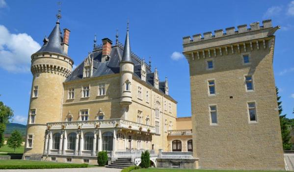 Grand French castle with turrets that was renovated in 2002