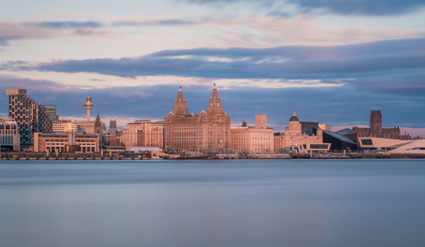 Skyline of Liverpool from the River Mersey