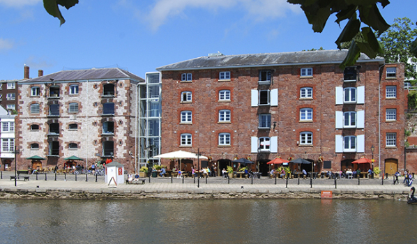 Waterside flats and restaurants