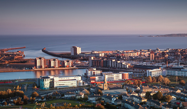 View of Swansea and the coast