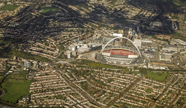 Arial view of Wembley Stadium