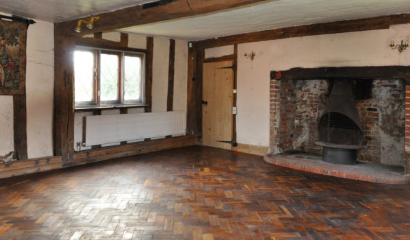 Fireplace in grade II listed farmhouse in need of restoration