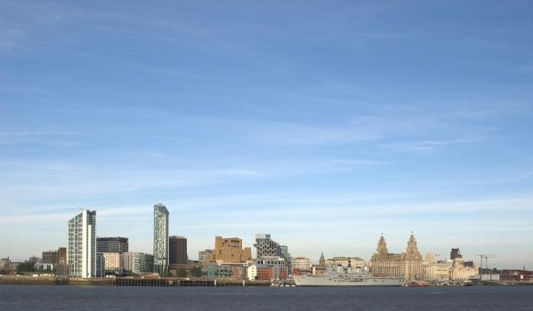 The city of Liverpool from the River Mersey