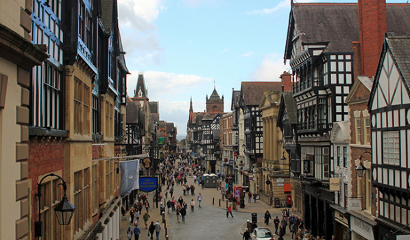 Crowded Chester City center attracting lots of visitors