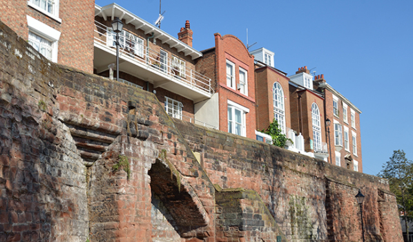Houses on the old city walls of Chester