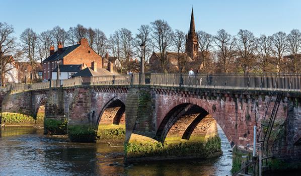 Grosvenor Bridge over the River Dee in Chester