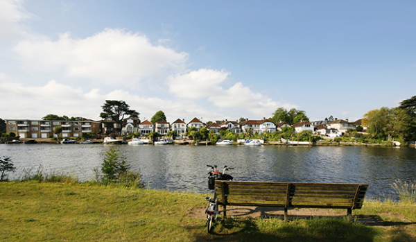 Homes on the riverfront in Kingston-upon-Thames
