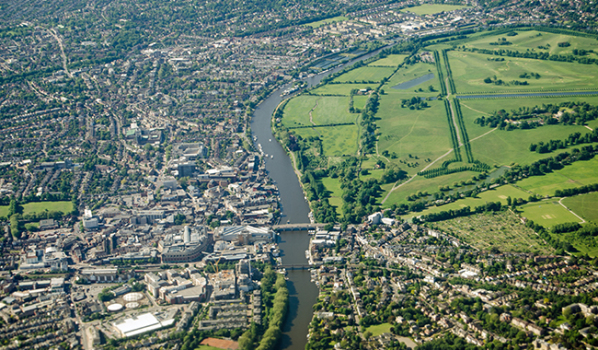 Arial view of Kingston-upon-Thames