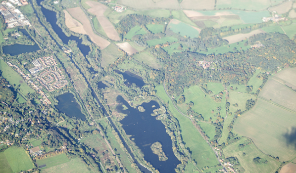 Aerial view of the Lee Valley reservoirs