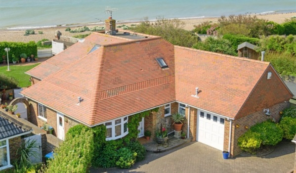 Detached house backing on Ferring beach