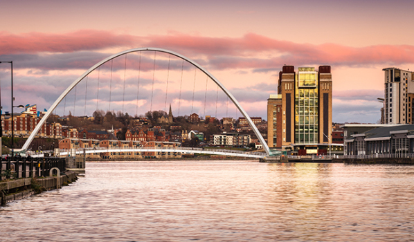 Millennium Bridge in Newcastle at sunset