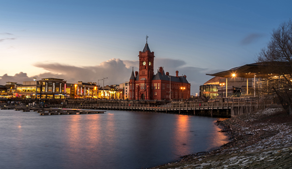 The Pierhead Building in Cardiff Bay at dusk