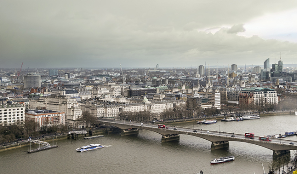 Aerial view of London on a grey day