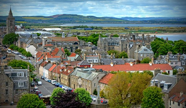 The town of St Andrews and views of the landscape beyond