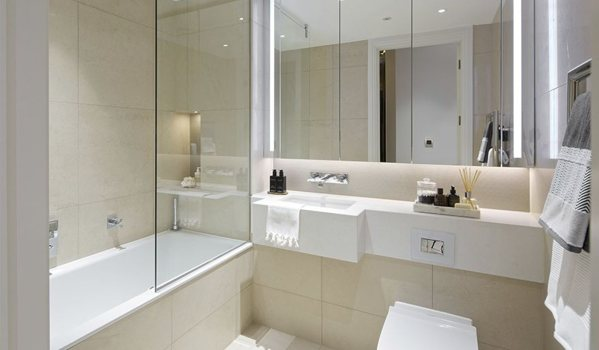 Use creams and taupes in bathrooms