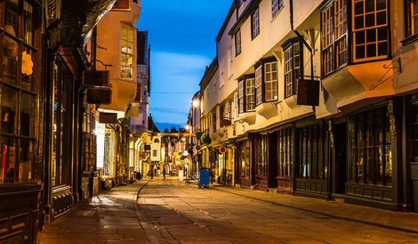 An old street in York at dusk