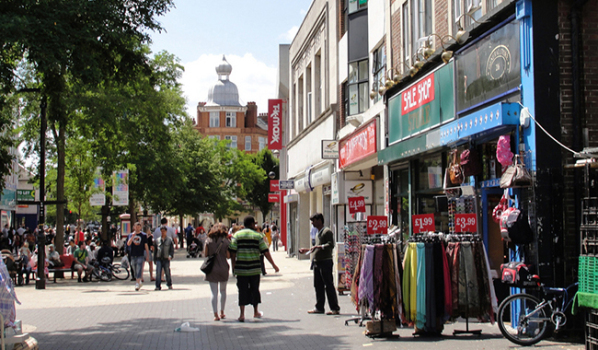 Shoppers in Hounslow high street