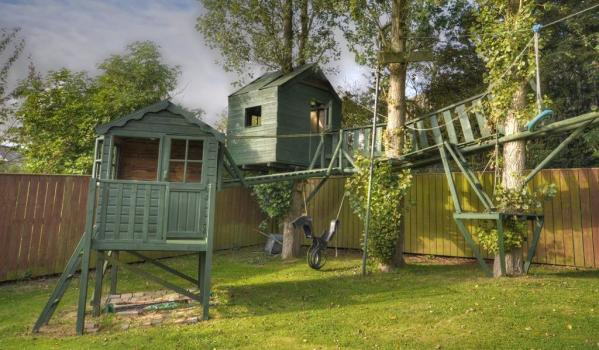 A multi-level tree house with its own zipwire