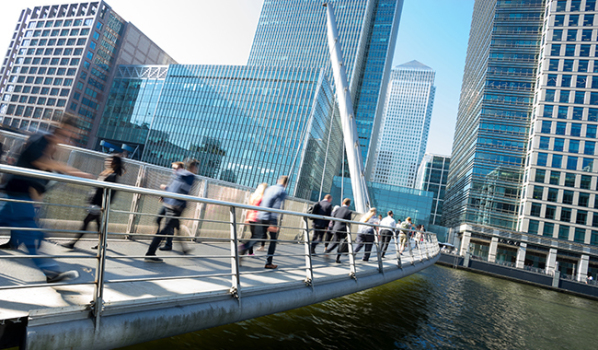 Rush hour in Canary Wharf