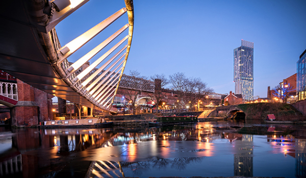 Castlefield conservation area in Manchester at night