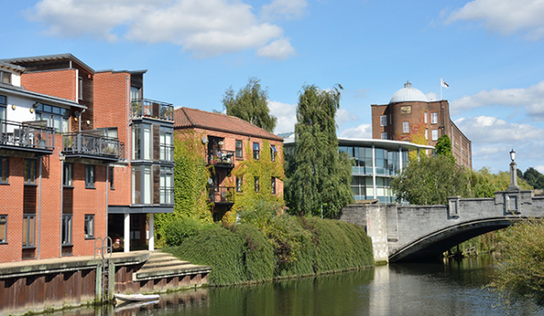 Modern Riverside buildings in Norwich