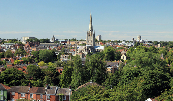 Norwich City skyline on a Summer's Day
