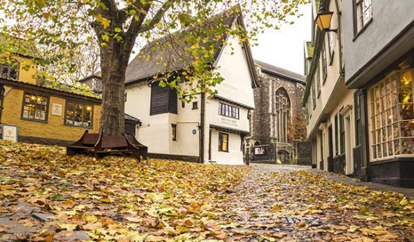 Elm Hill in Norwich in the autumn