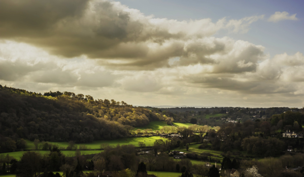 A panoramic view of Bath's countryside
