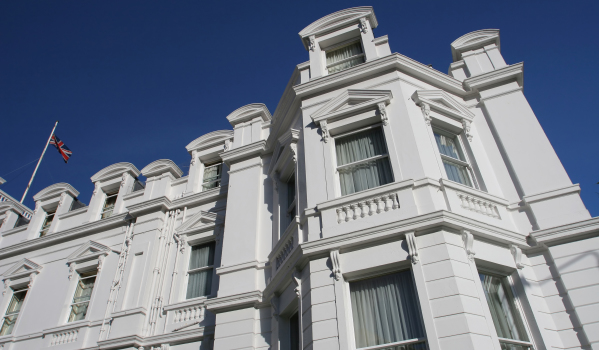 A grand white Georgian property in Bournemouth
