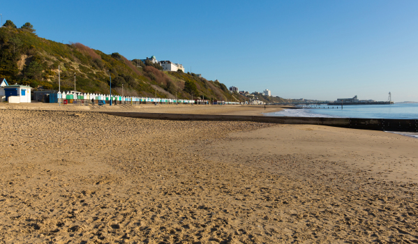 Bournemouth's sandy beach towards the pier