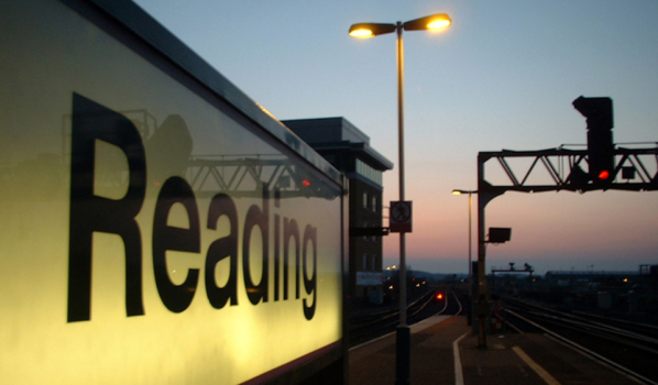 Illuminated Sign on Reading Railway Station
