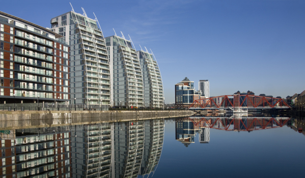 Modern apartments in Salford Quays