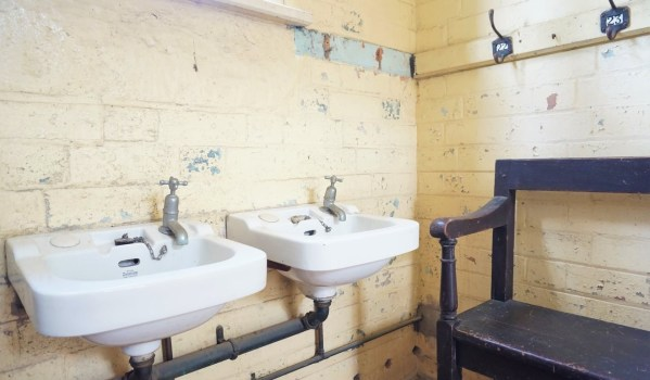 Original cloakroom in a converted school house