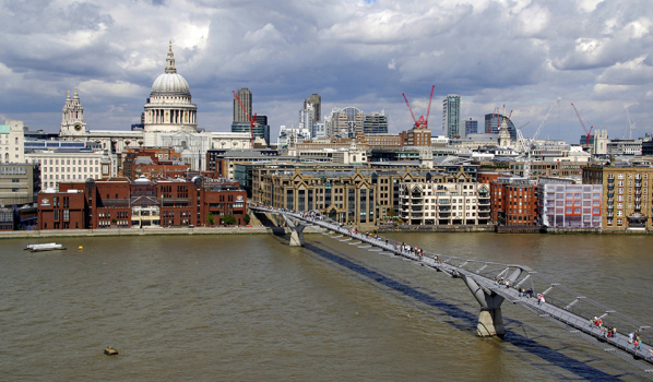 The Millenium Bridge crossing to the north bank of the River Thames