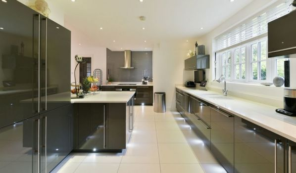 Modern grey kitchen in a house in Tadworth