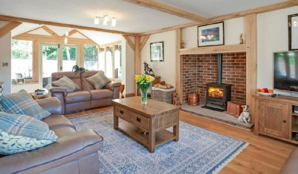 Wood burning stove in a new build cottage