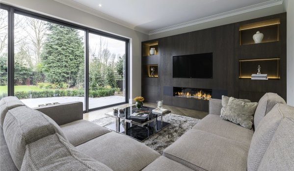 Modern fireplace in a mansion in Coombe