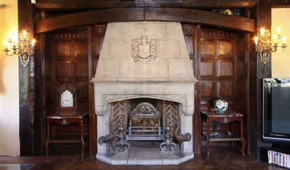 16th Century carved stone fireplace