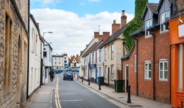 A street lined with period properties in Oxfordshire