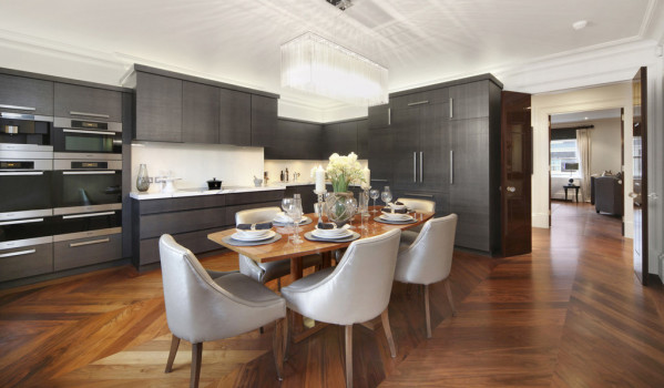 Sleek kitchen in Knightsbridge flat