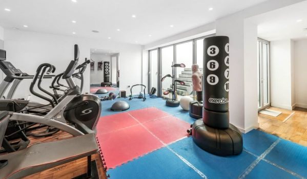Home gym with exercise machines and boxing equipment